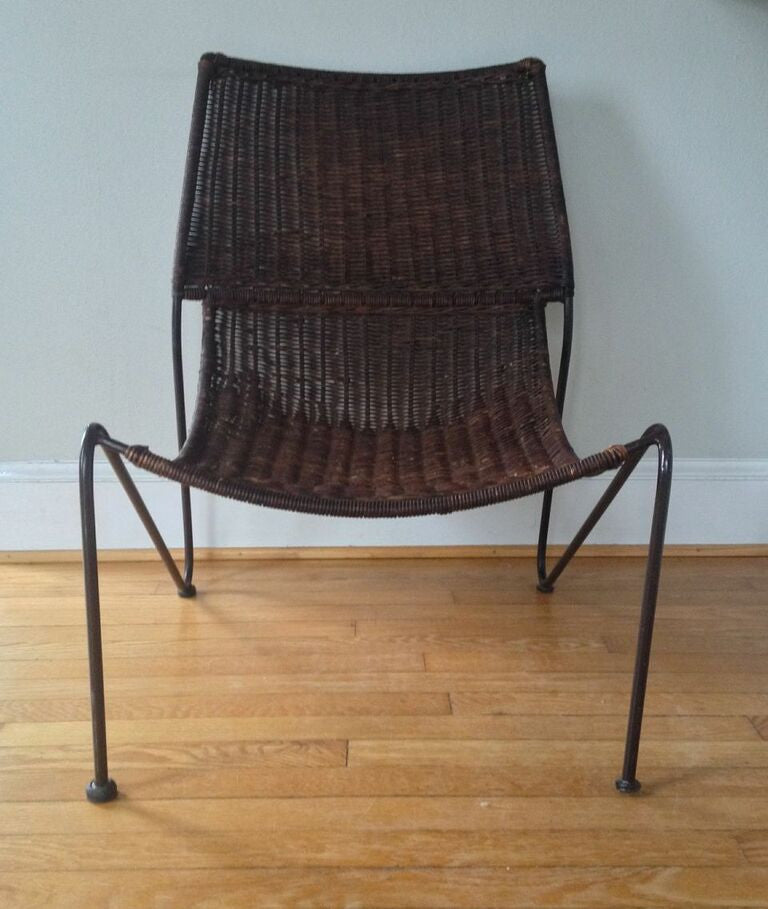 mid century modern cane and iron sling scoop chair barefoot dwelling