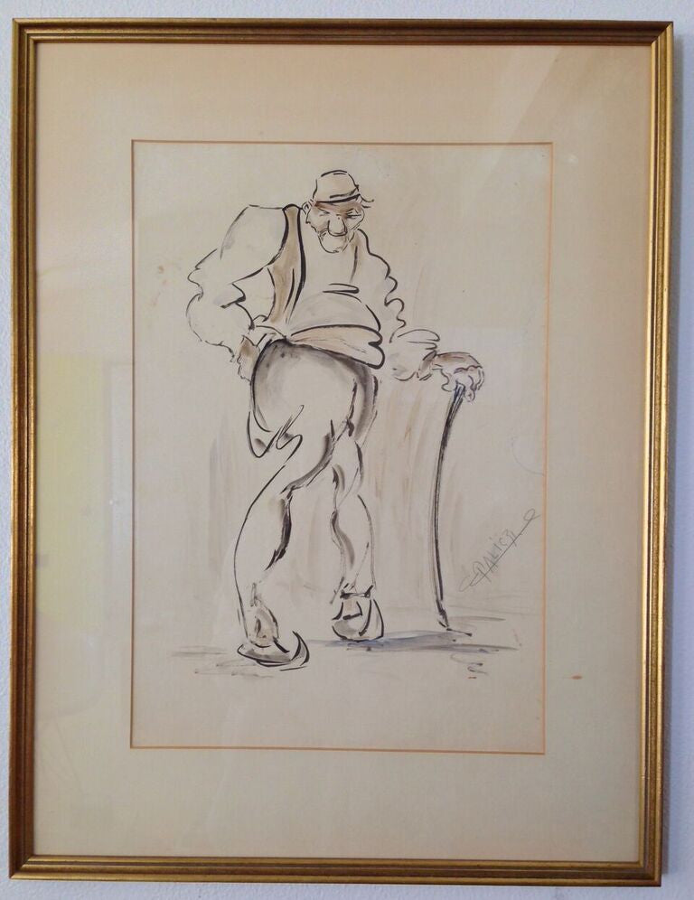 Framed Original Drawing - Funny Old Guy - Barefoot Dwelling
