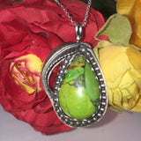 Green Pear - Radical Metal -Green Turquoise- Green Apple Turquoise- Lisa Blank- Silver Jewelry- Silver and Turquoise- Pendant