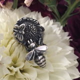 Sunflower Bee - Radical Metal,Sunflower Bee - Radical Metal, bee jewelry, honeybees, silver jewelry, silver honey bee, save the bees