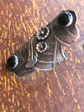 Queen of the Night, Radical Metal ring, Lisa Blank, gothic jewelry, black onyx, bohemian style, goth, black flowers