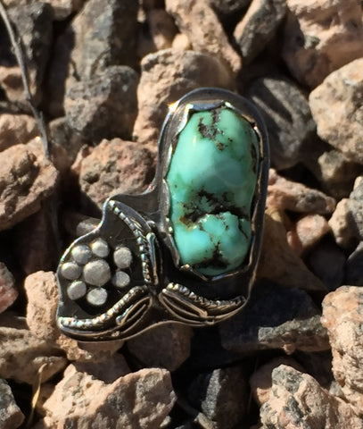 Turquoise with Leaves and Flower  Size 10.