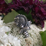 Sunflower Bee - Radical Metal, bee jewelry, honeybees, silver jewelry, silver honey bee, save the bees