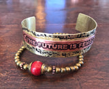 Radical Metal, Lisa Blank, The Future is Female, Copper and Brass Cuff, African trade beads,