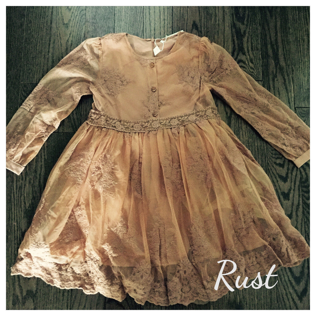 "Vintage Glam - The ""Avery"" Girls Peach Lace Dress - Angora Boutique - 5"