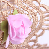 Princess Rose and Gold Lace Crown Headband Newborn + Baby - Angora Boutique - 2
