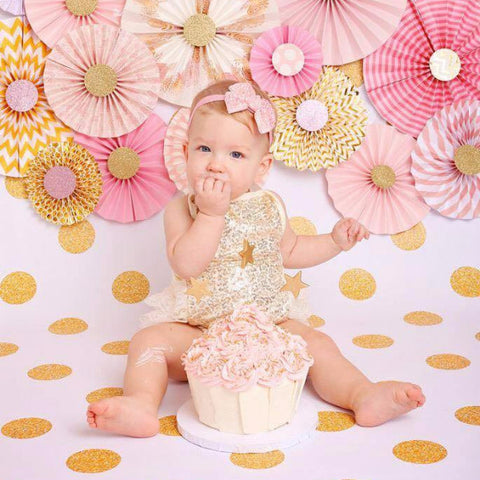 Gold Sequin and Lace Infant Romper - Angora Boutique - 1