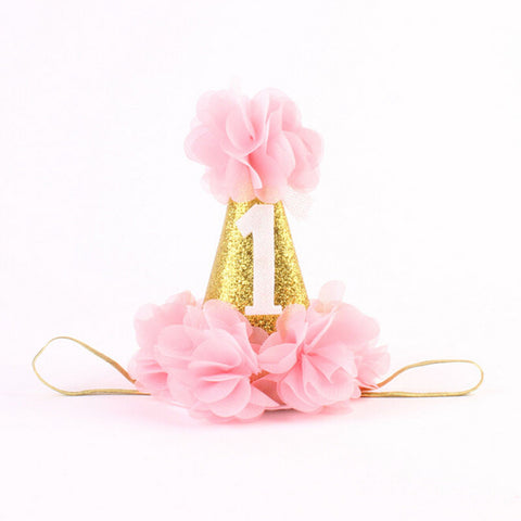 #1 First Birthday Pink and Gold Birthday Baby Hat - Angora Boutique