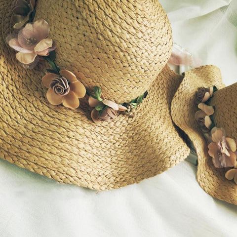 Summer Love Mommy and Me Floppy Straw Hats