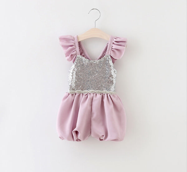 "The ""Sydney"" Silver Sequin Purple Girls Romper - Angora Boutique - 2"