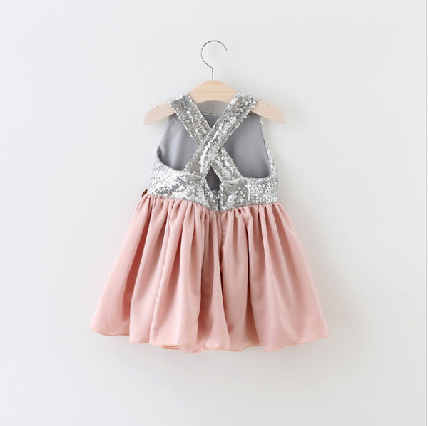 "The ""Brielle"" Shimmer Silver Dusty Rose Tutu Dress - Angora Boutique - 3"