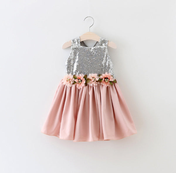 "The ""Brielle"" Shimmer Silver Dusty Rose Tutu Dress - Angora Boutique - 2"