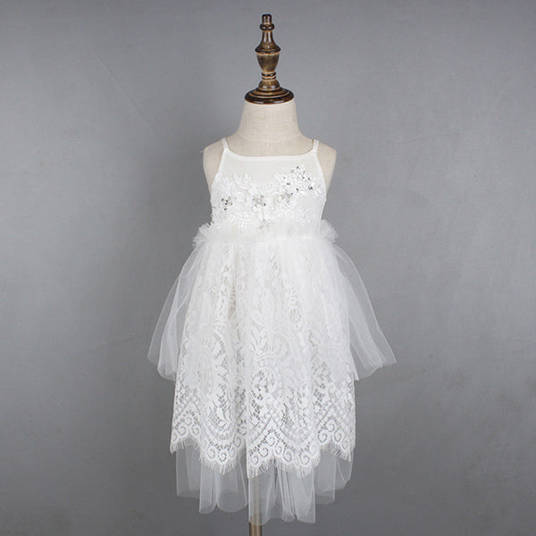 "The ""Madison"" Sequin Lace and Tulle Girls Dress - Angora Boutique - 1"