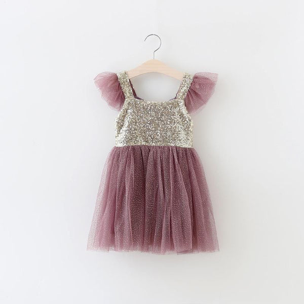 "The ""Lexi"" Toddler + Girls Purple and Gold Sequin Tutu Dress - Angora Boutique - 2"