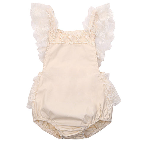 Bailey Beige Lace Ruffle Baby Romper - Angora Boutique - 1