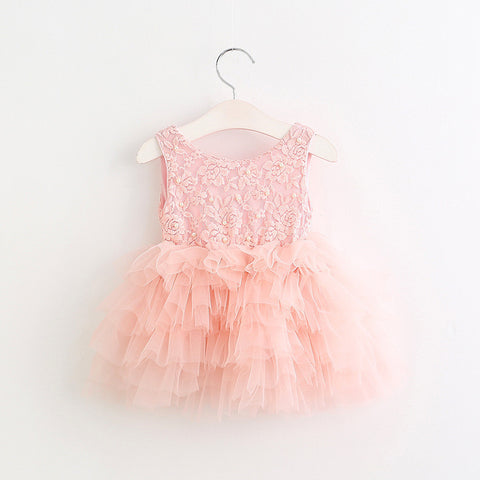 "The ""Marcella"" Pearl Embellished Pink Tutu Dress"