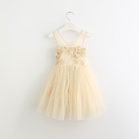 "The ""Adrienne"" Gold Beaded Floral Tutu Girls Dress"