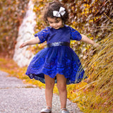 "The ""Delilah"" Navy Sequin Bow Lace Tutu Dress"