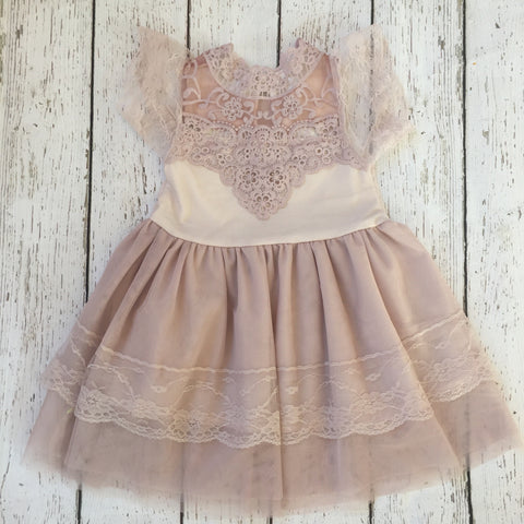"The ""Isabelle"" Blush Pink Lace Dress - Angora Boutique - 1"