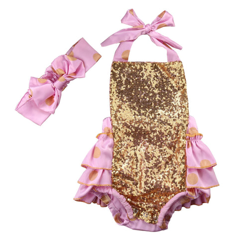 Gold Dots Pink and Gold Sequin Baby Romper with Ruffles - Angora Boutique - 1