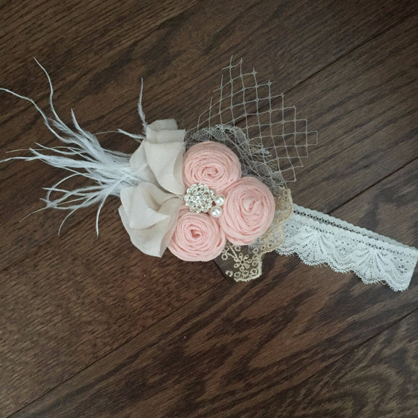 Vintage Inspired Beige Lace Headband - Angora Boutique - 3
