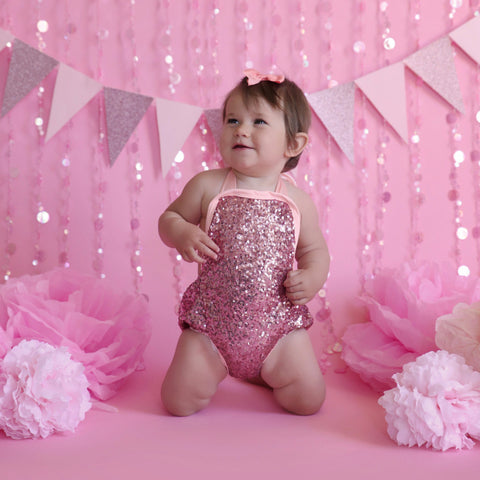 Charlie Glam Pink Sequin Baby Romper