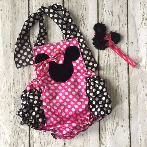 Minnie Mouse Pink Baby Romper Birthday Outfit Cake Smash - Angora Boutique - 1