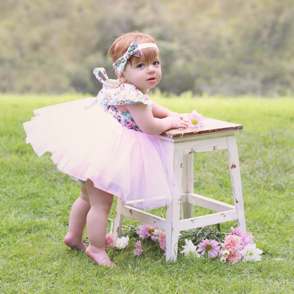 "The ""Angeline"" Pink Floral Lace Tutu Dress"