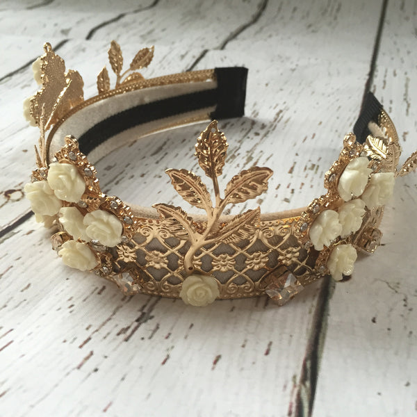 Gold & Cream Dream Rose Royal Crown Tiara - Angora Boutique - 3