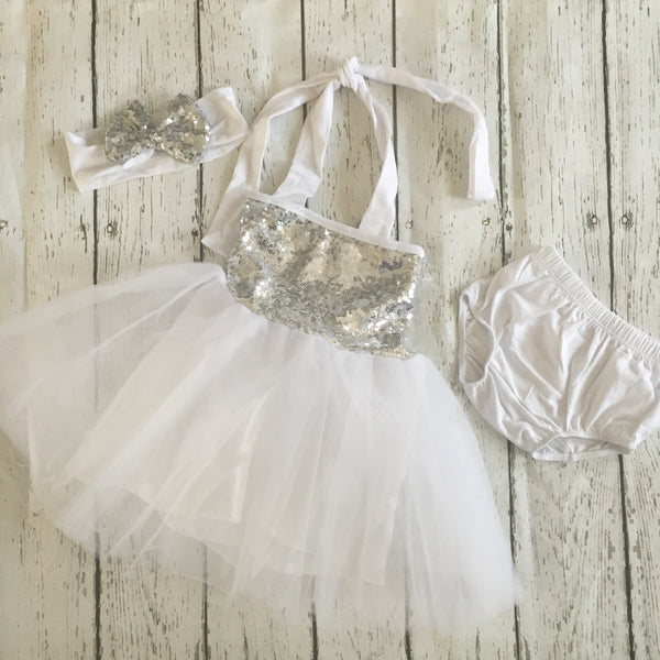 "The ""Gia"" White Silver Birthday Infant Dress + Headband Set - Angora Boutique - 2"