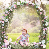 Vintage Inspired Blue Floral Shabby Chic Infant Romper + Headband