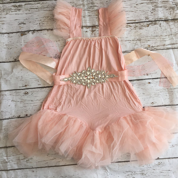"The ""Karen"" Rhinestone Sash Tutu Glam Dress in Pink - Angora Boutique - 2"