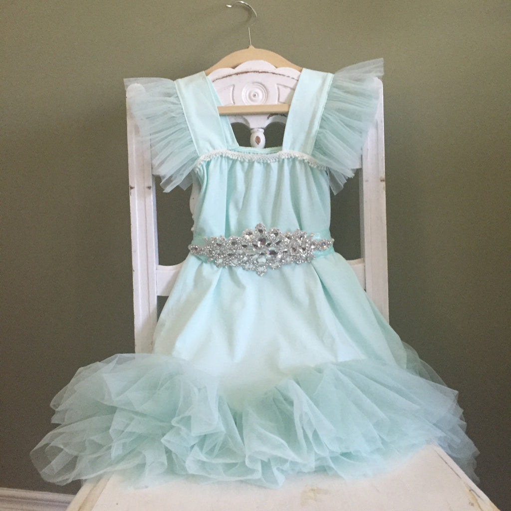 "The ""Karen"" Rhinestone Sash Tutu Glam Dress in Mint Green - Angora Boutique - 1"