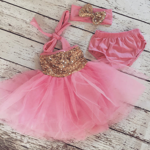 "The ""Gia"" Bubblegum Pink Gold Birthday Infant Dress + Headband Set - Angora Boutique - 1"