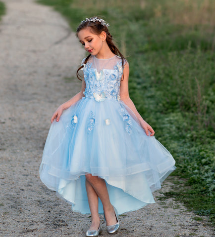 "The ""Ariella"" Girls Blue Butterfly Tutu Dress"