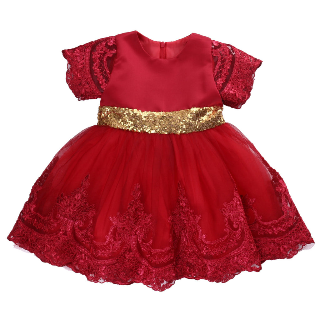 "The ""Delilah"" Red and Gold Sequin Bow Lace Tutu Dress"