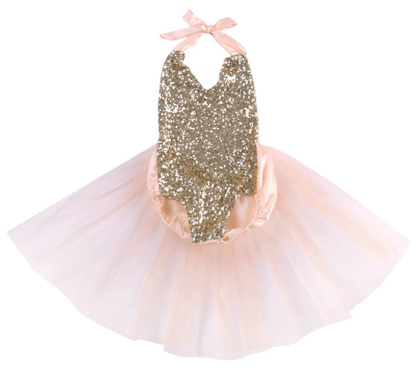 Amalie Pale Pink And Gold Sequin Baby Romper With Tulle