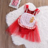 Gingerbread Girl Sequin Christmas Romper with Tulle Skirt - Angora Boutique - 2