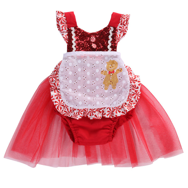 Gingerbread Girl Sequin Christmas Romper with Tulle Skirt - Angora Boutique - 1