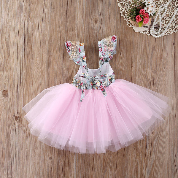 "The ""Angeline"" Pink Floral Lace Tutu Dress - Angora Boutique - 3"