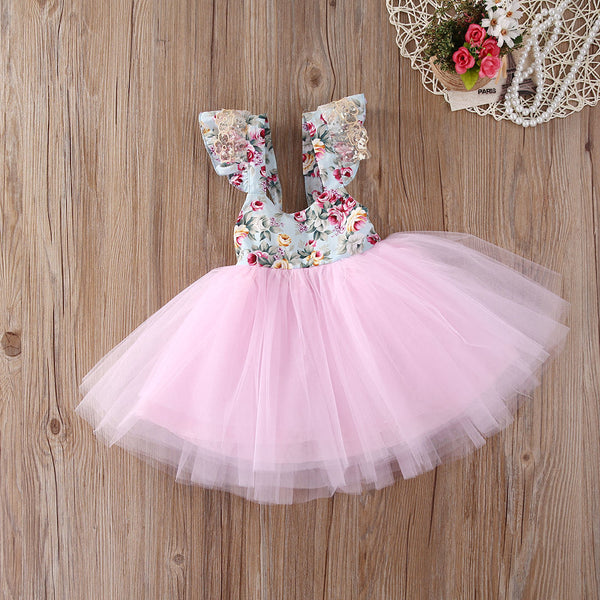 "The ""Angeline"" Pink Floral Lace Tutu Dress - Angora Boutique - 1"