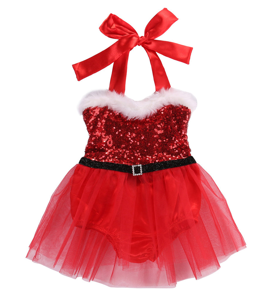 Santa Baby Sequin Christmas Romper with Tulle Skirt - Red - Angora Boutique - 1