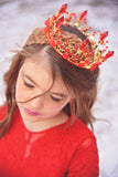 Less than Perfect - Rose & Crystal Royal Tiara Red Crown - Angora Boutique - 3