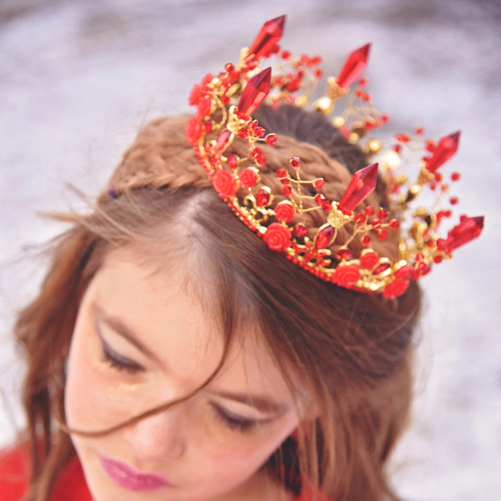 Less than Perfect - Rose & Crystal Royal Tiara Red Crown - Angora Boutique - 1