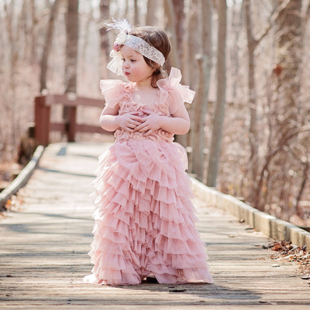"The ""Valentina"" Rosette Dusty Pink Long Length Dress - Angora Boutique - 1"