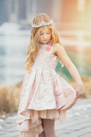 "The ""Elle"" Pretty Pink Jacquard Princess Dress"