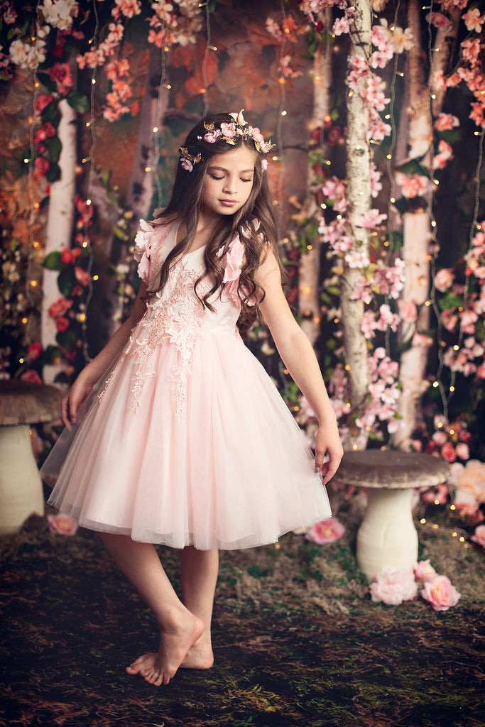 "The ""Farrah"" Pink Lace Tutu Petal Flower Girl Dress"