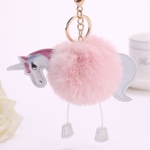 Fluffy Unicorn Keychain