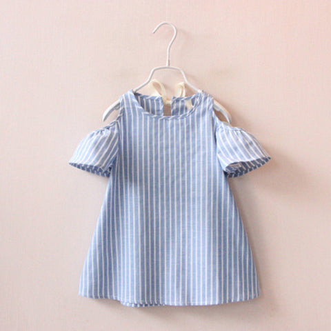Summer Sweetie Striped Blue Cotton Dress