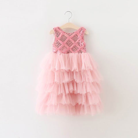 "The ""Brooklyn"" Sparkly Sequin Pink Bow Dress - Angora Boutique - 1"